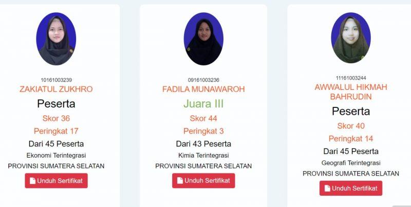 Santri MA AL-Ittifaqiah Indralaya Raih Juara KSM 2021